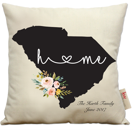 pillow embroidered hand state pillows monogrammed