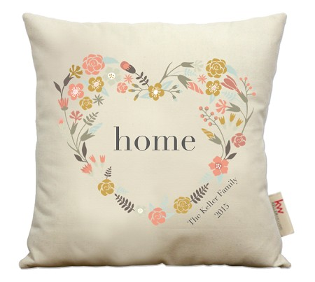 """home"" with floral heart"